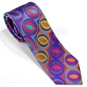 Purple Eyes Lawrence Ivey Multi-colorful Silk Tie